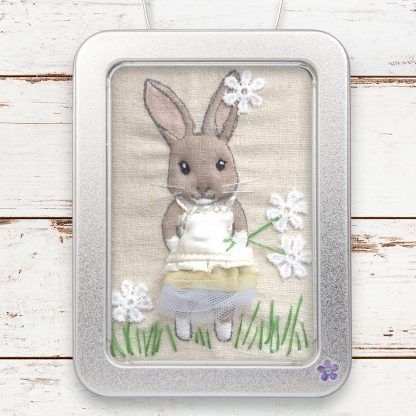 Dressed-up fabric rabbit picture