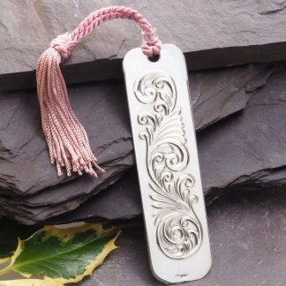 Hand Engraved Scroll Silver Bookmark