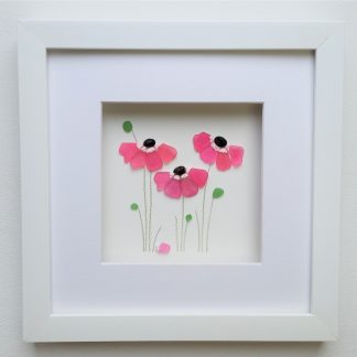 framed picture of pink flowers created from Cornish sea glass