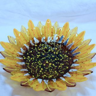 Sunflower fused glass bowl