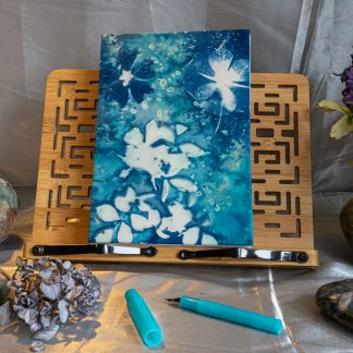 Hand Bound Journal with Original Wet Cyanotype Print Covers … Mallow and Clematis and Wildflowers … Because Your Words Are Worth It