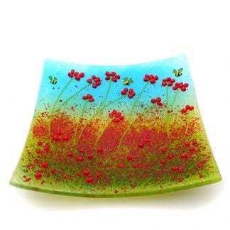 Red poppies with bee, fused glass decorative plate