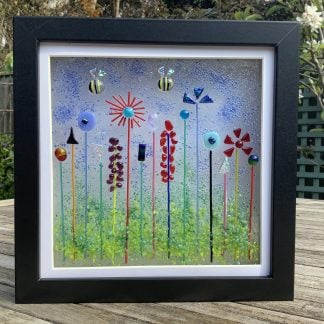 Fused glass garden flowers and bees framed picture