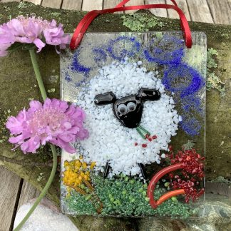 Fused glass white sheep and flowers