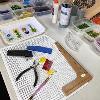 Fused glass workshop layout