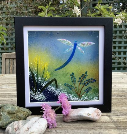 Fused glass dragonfly and bullrushes fused bullrushes box frame