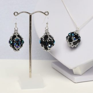 Beaded Bead Earrings and Pendant in Black and Silver