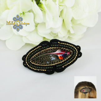 Black and gold beaded barrette MollyG Designs