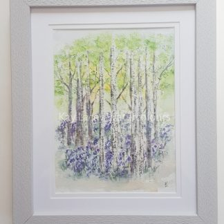 Bluebells and Birches Framed Watercolour