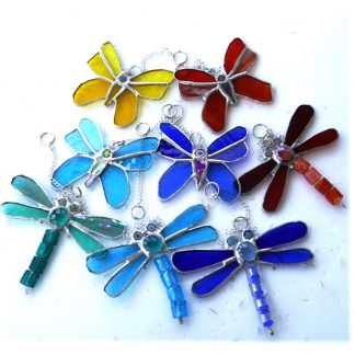 Bead-Tailed dragonfly butterfly stained glass suncatcher colour choice