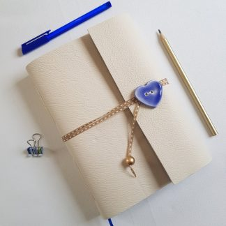 Cream Leather Art Nouveau Journal with Blue Ceramic Heart, Mallory Journals