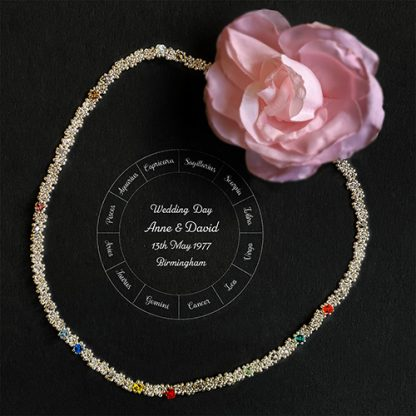 Wedding day astrology necklace in clear crystal with zodiac chart