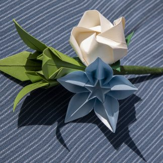 Custom paper flower buttonhole in ivory, blue and green