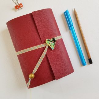 Red Art Nouveau Journal with Ceramic Heart A6 Mallory Journals