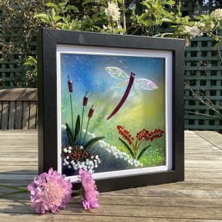 Fused glass dragonfly and bullrushes in black box frame