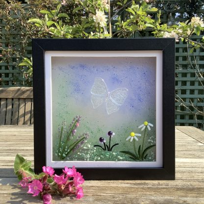Fused glass gossamer butterfly and flowers in box frame
