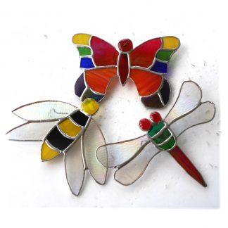 Garden decoration giant bee dragonfy butterfly stained glass suncatcherns