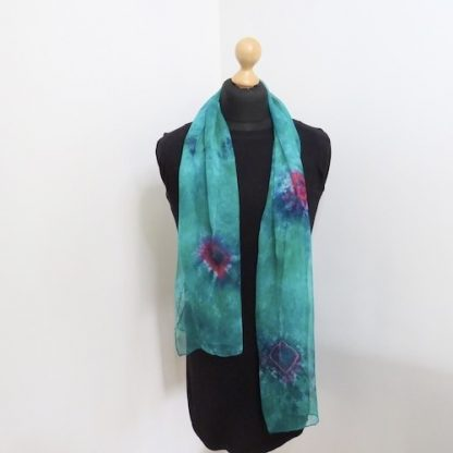 Green-Hand-Painted-Scarf with Roses