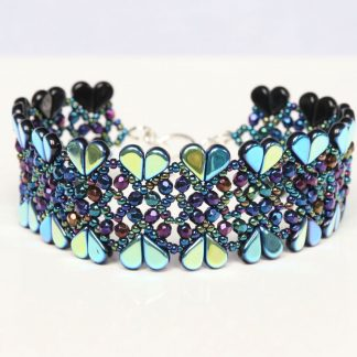 Heart Bracelet in Iridescent Blue, Purple and Green
