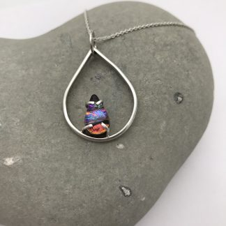 Eco-Silver and dichroic glass tear drop necklace