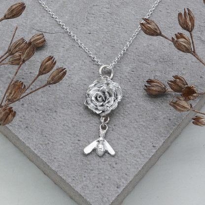 fine silver rose and bee pendant