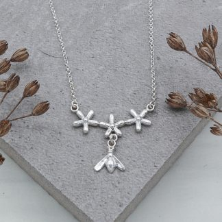 fine silver bee and flower necklace