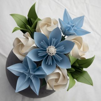 Ivory-blue-and-green-bespoke-bridesmaid's-bouquet