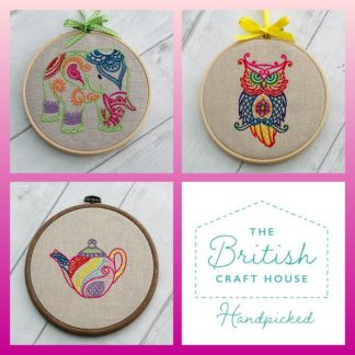 Mehndi elephant owl and teapot embroidered hoops