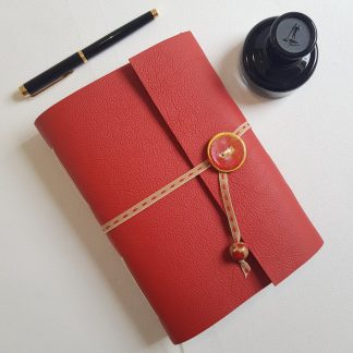 Red Leather Art Nouveau Journal with Ceramic Button, A5, Mallory JOurnals