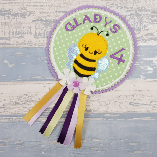 Spring Summer Bumble Bee Personalised Birthday Badge Rosette Pin