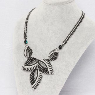 Beaded Leaf Necklace in Black and White