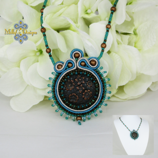 Turquoise and Copper Beaded Necklace MollyG Designs Handmade Jewellery
