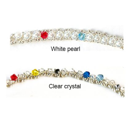 2 colour options in white pearls or clear crystal beads