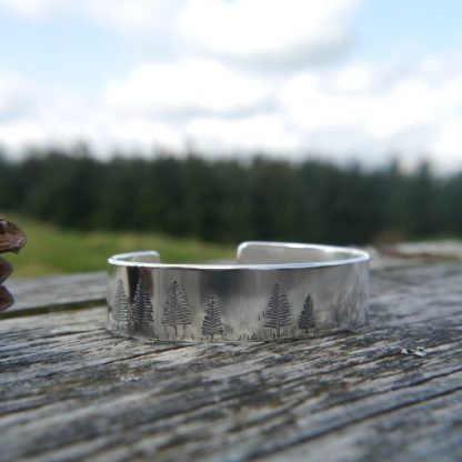 Wildwoods Forest Chunky Silver Cuff Bangle