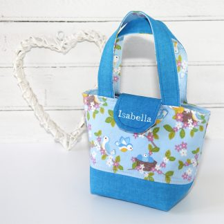Personalised tote bag for young child in blue baby birds print