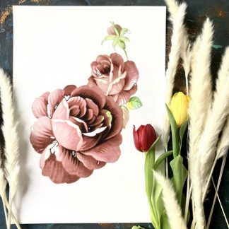 mother and child two roses floral art print