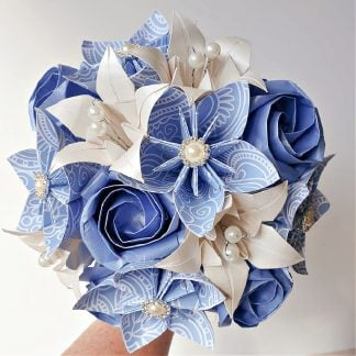 origami paper flower wedding bridal bouquet in pale blue and ivory