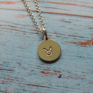 sterling silver hand-stamped zodiac symbol disc necklace