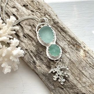 Sterling Silver, Sea Glass and Coral Droplet Pendant Necklace