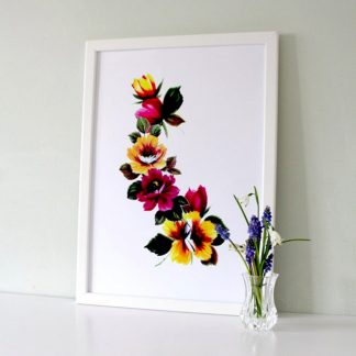 tropical floral chain of flowers art print pink and yellow