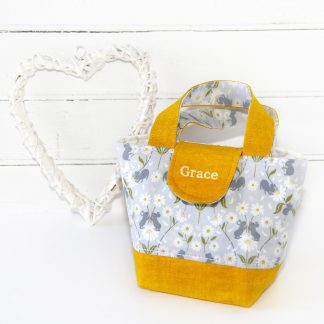 Child's yellow personalised tote bag with daisies and mice