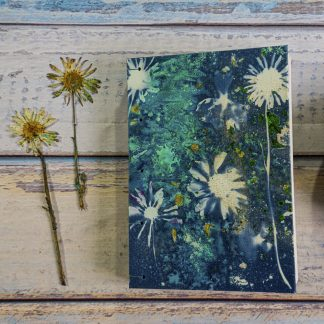 Hand Bound Journal with Original Wet Cyanotype Print Covers … Black-Eyed Susans and Oxeye Daisies with Green and Gold … Because Your Words Are Worth It