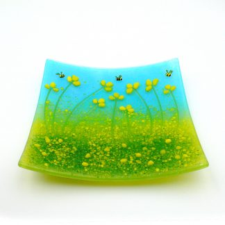 Yellow flowers with bee, fused glass decorative plate