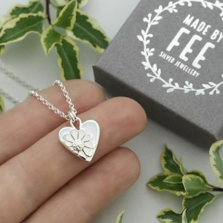 Handmade sterling silver heart pendant necklace with half heart daisy detail on belcher chain 14mm