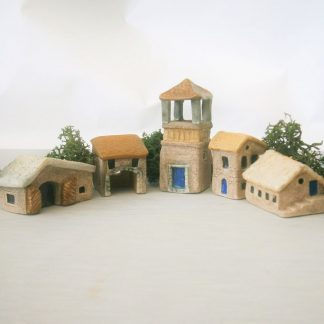 5 Miniature Ceramic French Houses