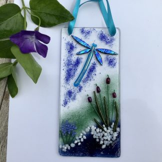 Fused glass Dragonfly and Bulrushes hanging with blue bodied dragonfly with dark blue dichroic wings