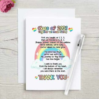 Class of 2021 Thank you poem with a rainbow