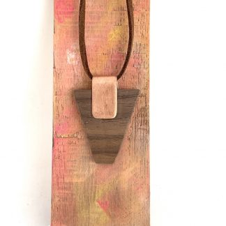Copper and walnut wood contemporary necklace