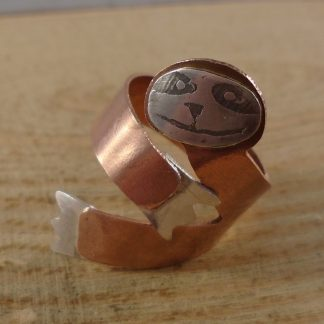 copper and sterling silver sloth ring
