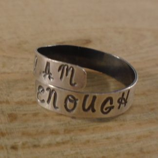 stamped i am enough silver ring